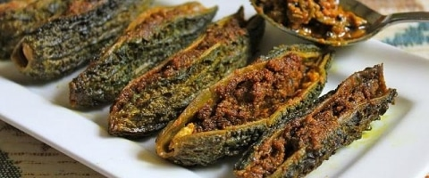 Kalonji Recipe - Stuffed Bitter gourd Recipe